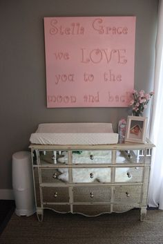 baby changing table  I love the picture above and the mirrored table. . . so chic :)