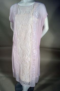 WEARABLE ART! LAVENDER VOILE 20's VINTAGE GARDEN PARTY DRESS WITH FINE LACE AND EMBROIDERY. Available at rpvintage.com