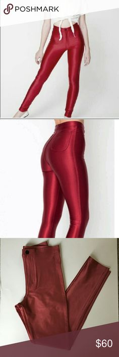 NWT American apparel red disco pant small These are new with tag! American apparel disco pants color red. 90% nylon 10% Elastane hi waisted rise 10in. waist measure across 12 in. Inseam 26 in. American Apparel Pants Skinny