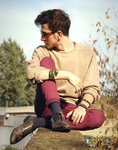 Sunglasses, Nuvolari Wool Sweater, Spiked Bracelet, Vfno 2011 Rome Studded Leather Bracelet, Alcott Skinny Jeans, Thompson Pirate Shoes, Anna Dello Russo For H Snake Double Clip Bracelet