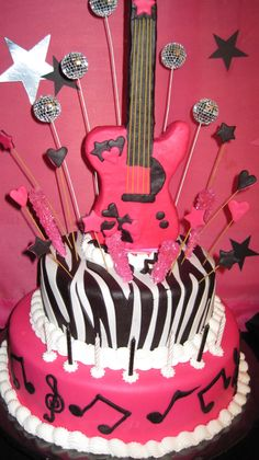 Rock star birthday cake idea for girls party in pink