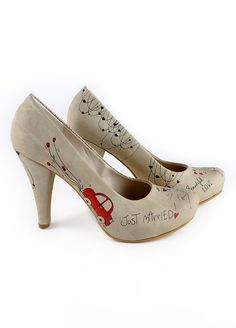 Just married original design leather shoes by butterfliesatsunset, $200.00