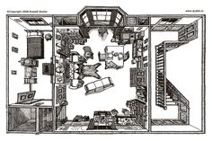 Sherlock Holmes Baker Street floorplan by Russell Stutler Sherlock Holmes Costume, Sherlock Holmes Stories, Sherlock Bbc, Sherlock Cosplay, The Five Orange Pips, Benedict Cumberbatch Sherlock, 221b Baker Street, Martin Freeman, American Artists