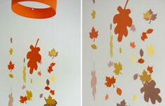 Leaf Mobile: This pretty piece can be created with colored paper, fishing line, a hole punch, and glue dots or a glue gun. You can buy precut paper leaves for ease or make them yourself. Try putting one mobile in front of every window to bring in the beauty of the outdoors. Photo: Whatever Dee-Dee Wants