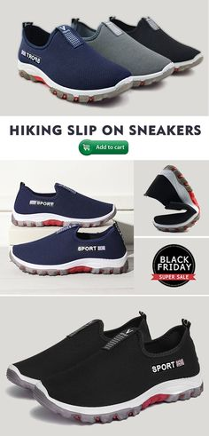 d91861b6777e0  48%off Men Fabric Breathable Outdoor Hiking Slip On Casual Sneakers  mens