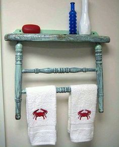 Transform an Old Chair into a Towel Rack and Shelf Refurbished Furniture, Repurposed Furniture, Shabby Chic Furniture, Furniture Makeover, Painted Furniture, Furniture Projects, Diy Furniture, Diy Projects, Furniture Stores