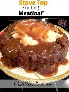 StoveTop Stuffing Meatloaf This Stove Top Meatloaf Recipe is a family favorite! With seasoned bread crumbs and gravy, it's easy to make and tastes so much better than your average meatloaf recipe. Beef Dishes, Food Dishes, Main Dishes, Stove Top Stuffing Meatloaf, Stuffing Mix, Stovetop Meatloaf Recipe, Meatloaf In Bundt Pan Recipe, Basic Meatloaf Recipe, Meat Recipes