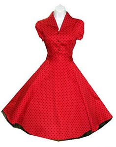 ce0d446b3cc49 Charm Your Prince Womens Red Rockabilly Swing Pinup Polka Dot 1950's LUCY  Dress at Amazon Women's Clothing store: