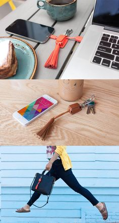 The Tassel Charging Cable Keychain is ready for business. Open the magnetized flap to reveal charging cables, Lightning for iPhones (yes, even iPhone 6 and 6 Plus) or Micro USB for Androids.