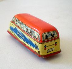 tin toys made in germany   Vintage Tin Litho Toy Touring Bus Made in Western Germany from ...