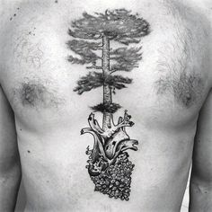 Mens Heart With Pine Cone And Tree Chest Tattoo