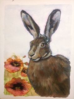 Watercolour and elegant writer hare with poppies,
