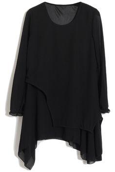 #Romwe Asymmetric Layered Black Dress