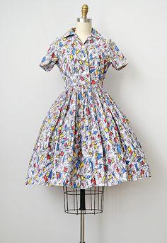 vintage 1950s Midcentury print day dress