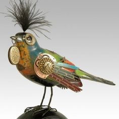Randomly stumbled on this. Totally love! Song Bird with Plume on Large Bocce Ball Steampunk by Mullanium - $394.94