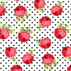 Michael Miller Tea Room Fabric Rosy Dot Floral Red Roses Flowers with Black Polka Dots Dot on White
