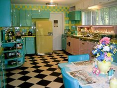 Excellent Retro Style Kitchen Colors With White Black Vinyl Flooring And Blue Pink Kitchen Cabinet Also Yellow Refrigerator Plus Blue Dining Table And Chair Also Round Pendant Lamp And White Window As Well As Linoleum Kitchen Flooring  Also Kitchen Floor Ideas  of Appealing Design Retro Kitchen Flooring from Kitchen Ideas