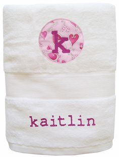Children will love to dry off with our soft, fluffy cotton personalized towels, appliqued with kid-friendly designs and their names embroidered in big bold letters.