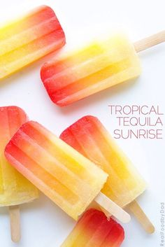 Tropical Tequila Sunrise Popsicles from Real Food by Dad and Summertime Popsicle Recipes - Cool Off Your Hot Days! More Adult Beverage Popsicles on Frugal Coupon Living. Tequila Sunrise, Real Food Recipes, Dessert Recipes, Cooking Recipes, Delicious Desserts, Frozen Desserts, Popsicle Recipes, Summer Treats, Travel Photos