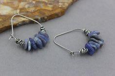 Tanzanite Earrings, Bohemian Dangle Hoop Earrings with Tanzanite Nuggets, Hoops with Beads, Tribal Earrings, Artisan Hoops, Tanzanite Hoops