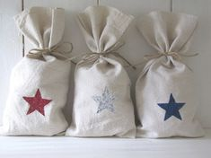 Set of 3 Glittered Stars Feedsack Gift Bags...July 4th, Independance Day