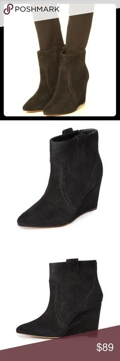 """Rebecca Minkoff Bianca Wedge Bootie Brand new without tags, Bianca suede wedge bootie in black. 3.5"""" heel, pull on style. Tonal whipstitch and pull up tabs give western appeal to these pointy toed wedge booties. These are so cute, currently sold out at Nordstrom and Bloomingdales. Retail for $150 Rebecca Minkoff Shoes Ankle Boots & Booties"""