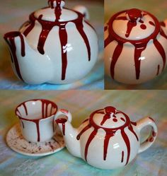 Decoration 39 Dexter Halloween Party Décor Ideas: Cool Drinkware Decoration For Halloween Party In Cute Design With In White Colors That Bleeding Motive On Them Add To The Impression Of Creepy Halloween Crafts, Halloween Decorations, Halloween Party, Halloween Kitchen, Kitchen Witch, Kitchen Decor, Dexter Halloween, Goth Home, Gothic Home Decor