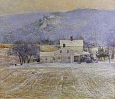 Peter Poskas, First Snow Oil on Panel, 11 .75 x 13.625 inches