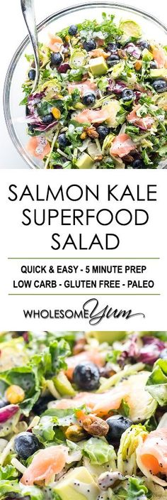 Salmon Kale Superfood Salad Recipe with Creamy Lemon Vinaigrette - Easy sweet kale superfood salad with lemon vinaigrette, smoked salmon and avocado is like a better Costco kale salad. 5 ingredients, plus 5 in the dressing! Replace kale with spinach Kale Superfood, Superfood Recipes, Healthy Salad Recipes, Paleo Recipes, Real Food Recipes, Paleo Kale Salad, Recipes With Kale, Sweet Kale Salad, Kale Salads