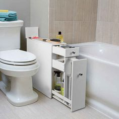This extra cabinet that fits awkwardly into that awkward space between your toilet and the tub.