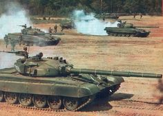 """Soviet Army T-72 """"Ural"""" main battle tanks"""