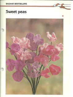 Crochet Flower Patterns, Sweet Pea Crochet Wire Flowers Pattern, Easy Vintage Crochet Pattern PDF