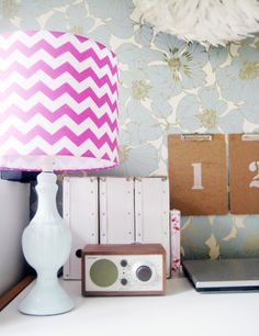 Old-fashioned Wallpaper. Hot Pink Chevron.