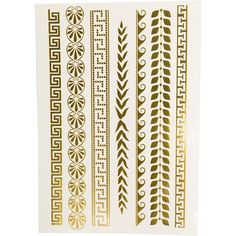 Printed Village Greek Metallic Tattoos ($5.98) ❤ liked on Polyvore featuring accessories, body art and yellow