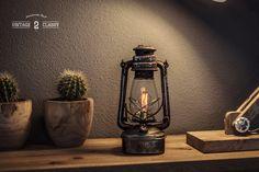 Vintage Desk Oil Lantern Carbon Filament Lamp by Vintage2Classy