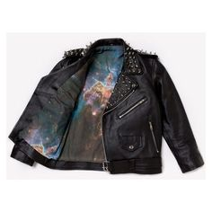 RWDZ Galaxy Studded Leather Jacket ❤ liked on Polyvore featuring outerwear, jackets, rider jacket, genuine leather jackets, cropped biker jacket, moto jackets and biker jackets
