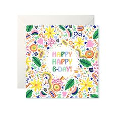 Happy Happy Birthday Card by Helen Magee Hairy Fruit Art Happy B Day, Fruit Art, Happy Birthday Cards, Gouache, Special Day, Card Stock, Greeting Cards, Illustration, Prints