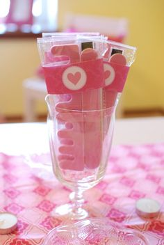 "Even small retail items such as toe separators can be given a flair! Photo 8 of Valentine's Day Spa / Valentine's Day ""Valentine's Day Spa Party! Spa Day Party, Spa Party Favors, Kids Spa Party, Spa Birthday Parties, Pamper Party, Sleepover Party, Slumber Parties, Party Time, Birthday Ideas"