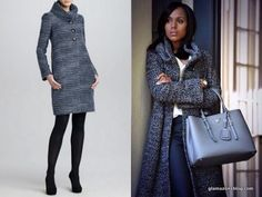 S4/Ep3 The Armani Collezioni Roll Neck Boucle Coat and Prada bag in Marble.