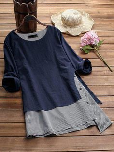 Women Stripe Patchwork Asymmetrical Long Sleeve Casual T-shirts Tops – lalasgalGracila Stripe Patchwork Asymmetrical Long Sleeve Casual T-shirts look chipper and natural. NewChic has a lot of women T-shirts online for your choice, believe you will Plus Size T Shirts, Plus Size Blouses, Flip Flop Shoes, Flip Flops, T Shirts For Women, Clothes For Women, Casual T Shirts, Long Shirts, Chic Outfits