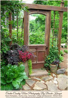 Creative Country Mom's Garden: Garden Gawkers #10 - Fantastic Antique Door Repurposed For The Garden