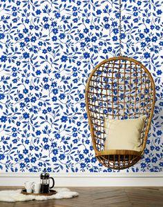 Sketchbook Floral (Blue) Wallpaper by Emily Isabella