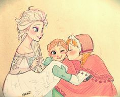 Elsa, Anna, and a child... I want to say she's Elsa's because in my fanfic that's how it is, but the artist probably meant her to be Anna's since they look so alike
