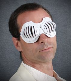 Eyecage Leather Mask in White. $49.00, via Etsy.