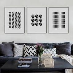 Abstrait Noir Blanc Forme Géométrique Toile Impression Grand Affiche Nordique moderne mur art Home Decor Peinture Sans Cadre