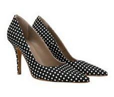 Tribeca Black with White spots italian stiletto heels