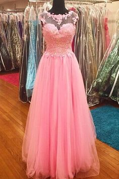 Pink tulle round-neck sequins lace princess A-line long prom dresses graduation dress for teens - occasion dresses by Sweetheartgirls Homecoming Dresses Long, Prom Dresses For Teens, Elegant Prom Dresses, Dresses Short, Pink Prom Dresses, Plus Size Prom Dresses, A Line Prom Dresses, Tulle Prom Dress, Formal Dresses For Women