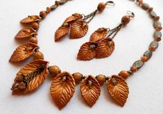 Fall leaves - Handmade necklace and earrings - Fall polymer jewelry set - Gift for her