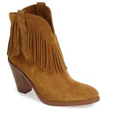 "Saint Laurent 'New Western' Fringe Boot, 3 1/2"" heel ($1,195) ❤ liked on Polyvore featuring shoes, boots, ankle boots, tan suede, ankle cowboy boots, cowboy boots, high heel booties and western ankle boots"