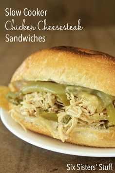 Slow Cooker Chicken Philly Cheesesteak Sandwiches from SixSistersStuff.com- these are so easy and delicious! #crockpot